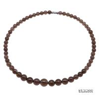 Gradual Size 7-13mm Round Smoky Quartz Beads Necklace SMN039