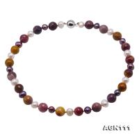 Natural 12mm Faceted Multi-Color Agate & Pearl Necklace AGN111