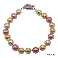 Classical 7-8mm Multi-Color Round South Seashell Pearl Bracelet  SPB001