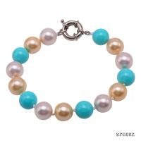 Classical 10mm Multi-Color Round South Seashell Pearl Bracelet  SPB002
