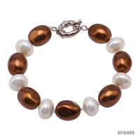 Classical 12x15.5mm White & Brown South Seashell Pearl Bracelet  SPB003