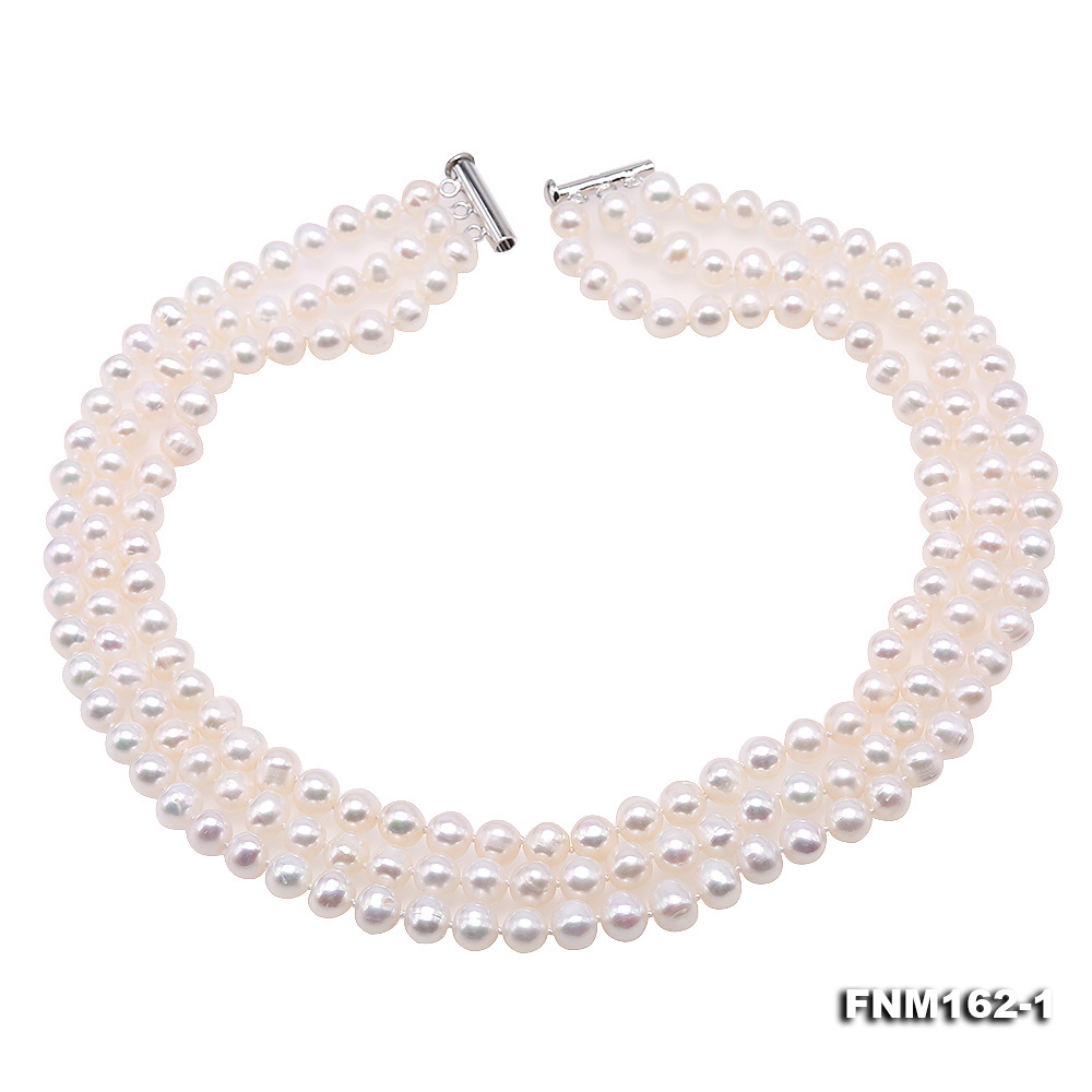 Classical 6.5-7.5mm White Pearl Three-Strand Necklace big Image 1
