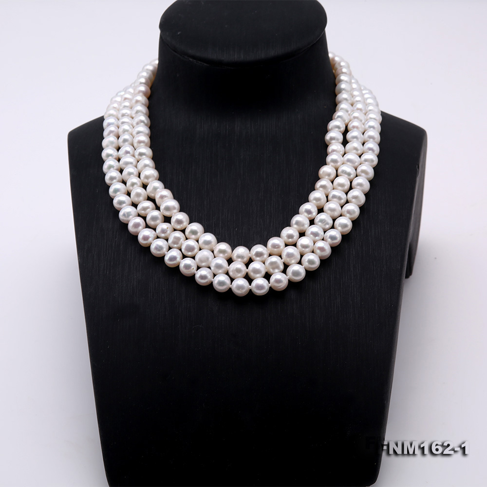 Classical 6.5-7.5mm White Pearl Three-Strand Necklace big Image 2