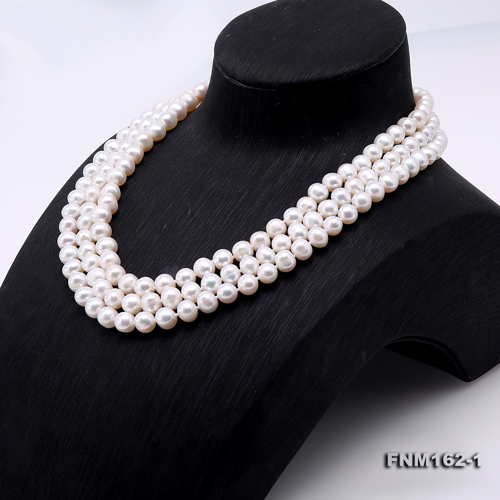 Classical 6.5-7.5mm White Pearl Three-Strand Necklace big Image 3