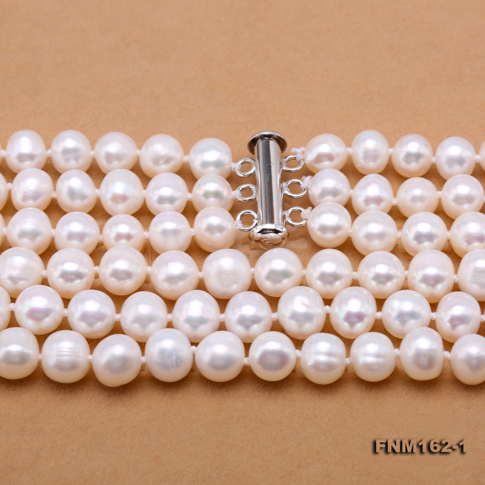 Classical 6.5-7.5mm White Pearl Three-Strand Necklace big Image 8