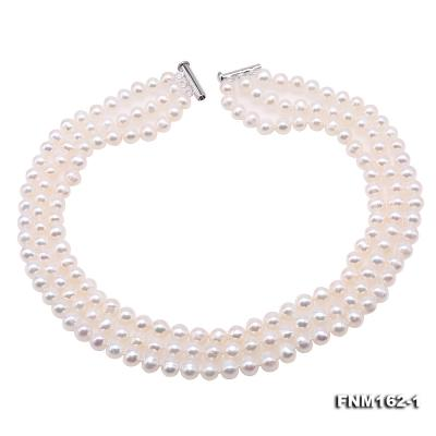 Classical 6.5-7.5mm White Pearl Three-Strand Necklace FNM162-1 Image 1