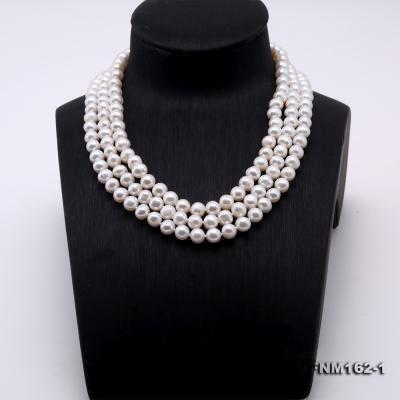 Classical 6.5-7.5mm White Pearl Three-Strand Necklace FNM162-1 Image 2