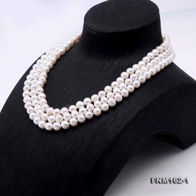 Classical 6.5-7.5mm White Pearl Three-Strand Necklace FNM162-1 Image 3
