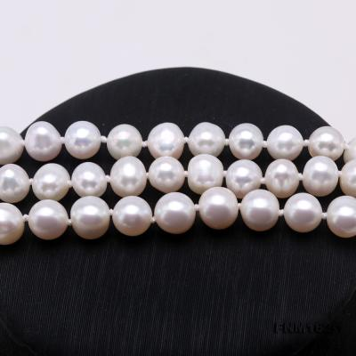 Classical 6.5-7.5mm White Pearl Three-Strand Necklace FNM162-1 Image 4