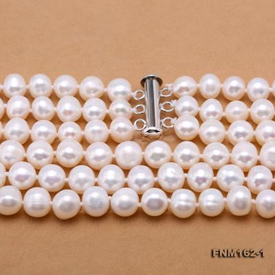 Classical 6.5-7.5mm White Pearl Three-Strand Necklace FNM162-1 Image 8