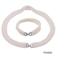 Classical 5-5.5mm White Pearl Three-Strand Necklace & Bracelet FPS324