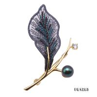 Elegant Embroidery 8.5mm Peacock Green Pearl Brooch FB1283