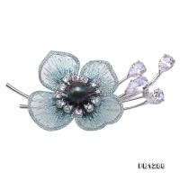 Elegant Embroidery 9mm Peacock Blue Pearl Brooch FB1286