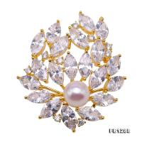 Delicate Zircon-inlaid 10mm Freshwater Pearl Brooch FB1288