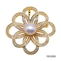 Delicate Zircon-inlaid 10mm Freshwater Pearl Brooch FB1289