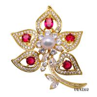 Delicate Zircon-inlaid 8mm Freshwater Pearl Brooch FB1290