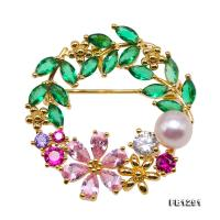 Delicate Zircon-inlaid 6.5mm Freshwater Pearl Brooch FB1291