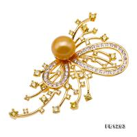 Gorgeous Butterfly Brooch with 12mm Golden Round Pearl FB1293