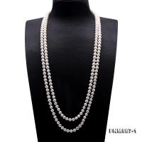 Classic 2-strand white freshwater pearl long necklace FNM567-1