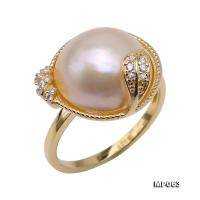Beautiful 13mm White Mabe Pearl Ring in 925 Sterling Silver MP063.