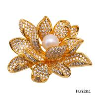 Exquisite 10.5mm Natural Freshwater Pearl Flower-shaped Brooch/Pendant FB1294