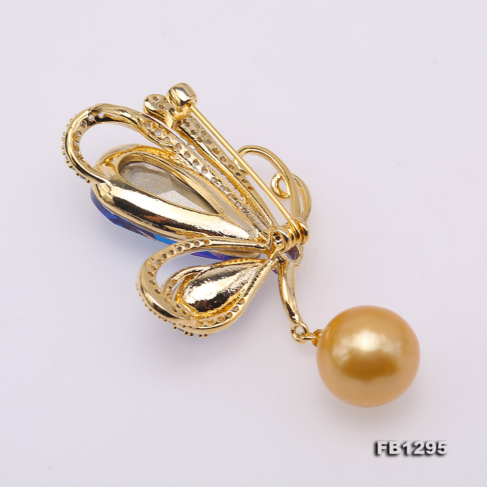 Gorgeous Butterfly Brooch with 13mm Golden Round Pearl big Image 2