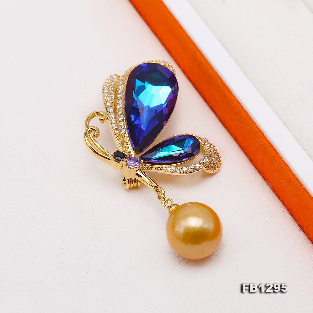 Gorgeous Butterfly Brooch with 13mm Golden Round Pearl big Image 6