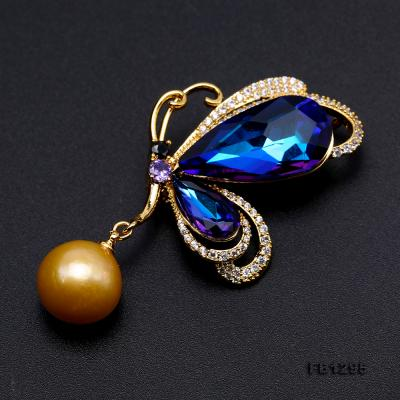 Gorgeous Butterfly Brooch with 13mm Golden Round Pearl FB1295 Image 4