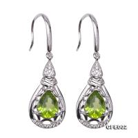 Delicate 6.5x9mm Natural Peridot Sterling Silver Earrings GFE002