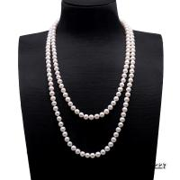 Classical 7.5-8.5mm Double Strand White Pearl Necklace FNM227