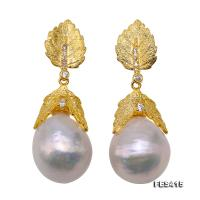 Unique 14.5×18mm Huge Baroque Freshwater Pearl Earrings FES415