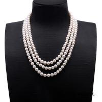Classical 7-8mm White Pearl Three-Strand Necklace FNM228