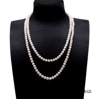 Classical 7.5-8.5mm White Pearl Long Necklace FNO942