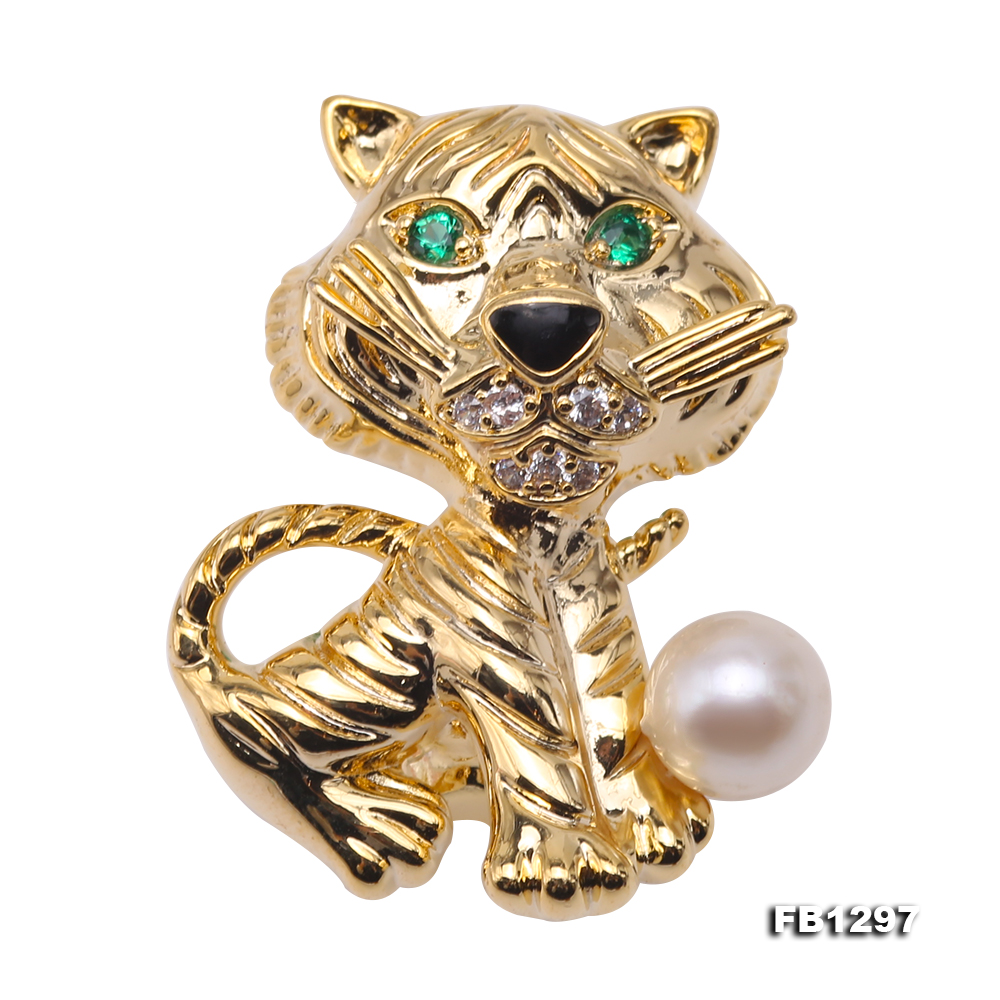 Wonderful Cat-shape 6.5mm White Pearl Brooch big Image 1