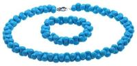 Pretty 12.5×8.5mm Blue Turquoise Necklace & Bracelet TQS001-1