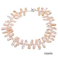 Unique 8.5×21-9×25mm Pink Stick Pearl Necklace FNI079