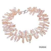 Unique 8×20-9.5×33mm Pink Stick Pearl Necklace FNI089