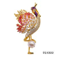 Exquisite Bird-shape 8mm Freshwater Pearl Brooch FB1300