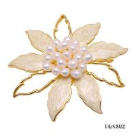 Delicate Shell Flower & 3mm Freshwater Pearl Brooch FB1302
