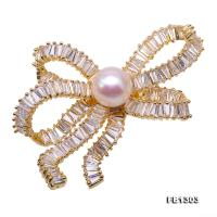 Delicate Zircon-inlaid 10mm Freshwater Pearl Brooch FB1303