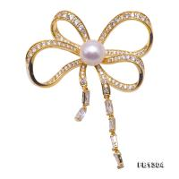 Delicate Zircon-inlaid 10mm Freshwater Pearl Brooch FB1304