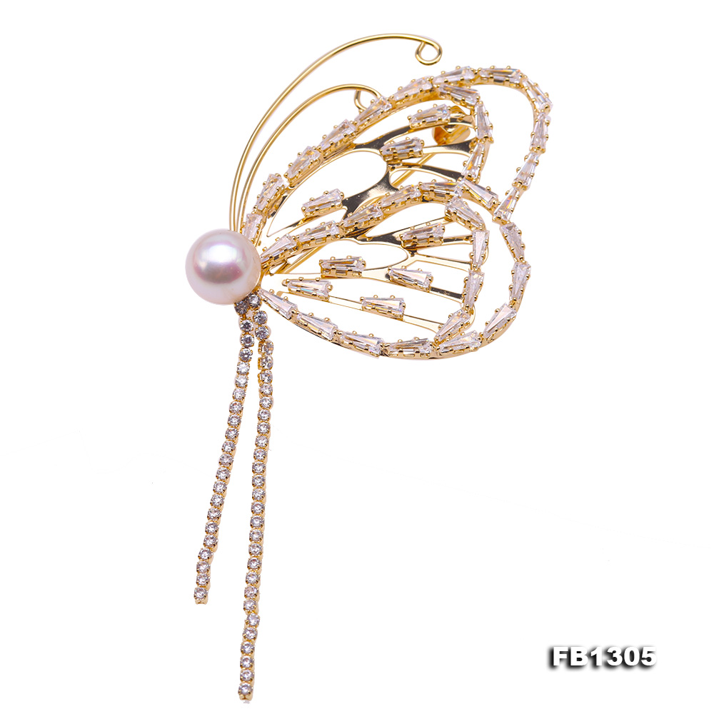 Gorgeous Butterfly Brooch with 9mm White Pearl big Image 1