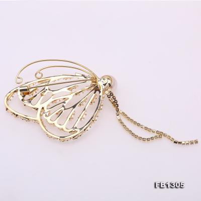 Gorgeous Butterfly Brooch with 9mm White Pearl FB1305 Image 2