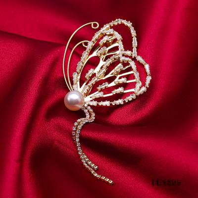 Gorgeous Butterfly Brooch with 9mm White Pearl FB1305 Image 4