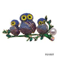 Exquisite 9.5mm Colorful Owls White Pearl Brooch FB1307
