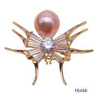 Exquisite Spider-shaped 14×17.5mm Freshwater Pearl Brooch FB859