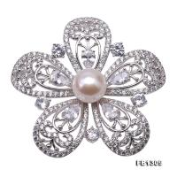 Delicate Zircon-Flower & 10mm White Pearl Brooch FB1309