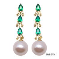 Lustrous Big 13mm White Round Pearl Earrings in Sterling Silver FES443