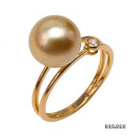 Charming 9.5-10mm Golden Round South Sea Pearl Ring in 18k Gold  SSR089