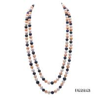 Beautiful 7.5-8.5mm Multicolor Freshwater Pearl Long Necklace FNO943
